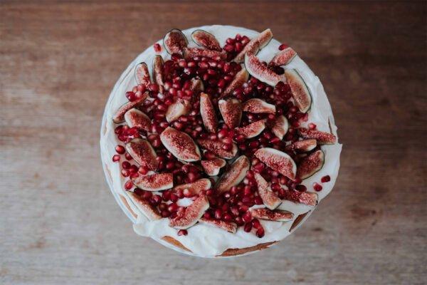 Stapeltaart - Vijg, granaatappel & rozenwater